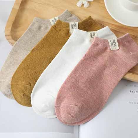 复古色系布标女袜
