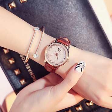 满天星水晶石英皮带手表