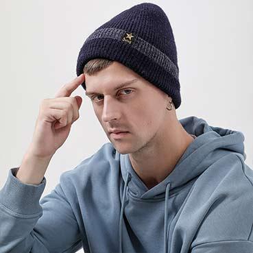 星星小皮标男士毛线帽