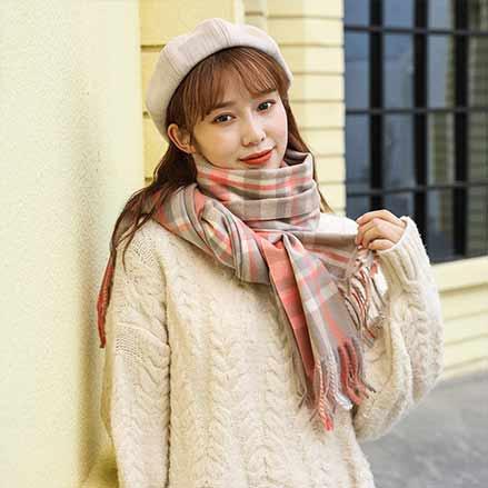 拉绒彩格围巾